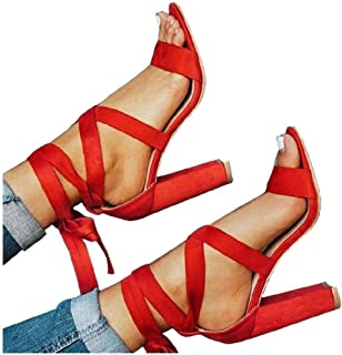 Womens Chunky Ankle Strappy Pumps Lace Up High Heels Sandals