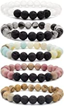 Bivei Lava Rock Stone Essential Oil Diffuser Bracelet - Natural Semi Precious Gemstone Beads Healing Crystal Bracelet