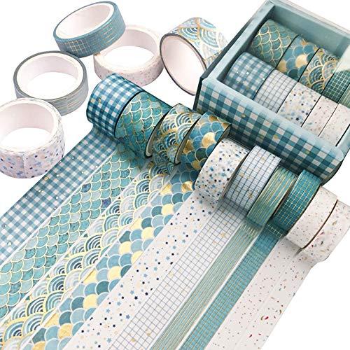 ACCIEEY Washi Tape Set 10 Rotoli nastro adesivo colorato colorato decorativo per Decorare Agende Scrapbook Album Foto e Progetti Artistici Fai da Te