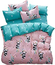 Hxiang 3pcs Kids Bedding Sheet Set One Duvet Cover Without Comforter Two Pillowcases Twin Full Queen King Size Panda Design (King, pink)