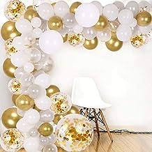 DIY Balloon Arch & Garland kit,138Pcs Party Balloons Decoration Set, Gold Confetti & Silver & White & Transparent Balloons...