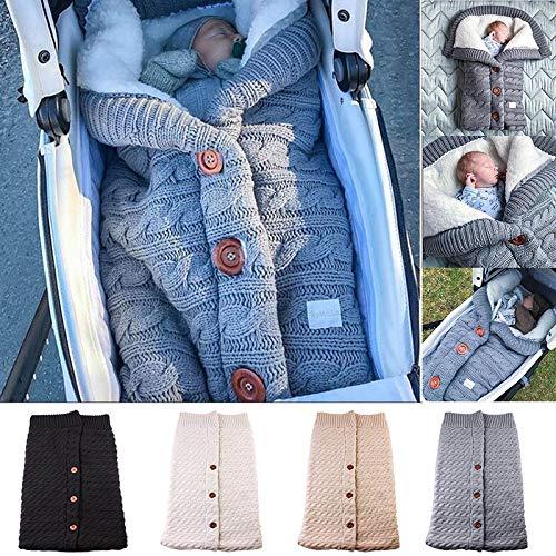 Liamostee Babydecke mit Knopfleiste gestrickt gehäkelt Winter Warm Pucksack grau