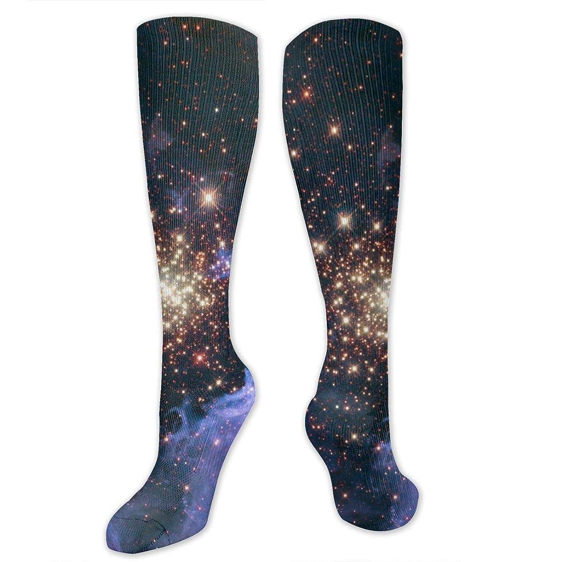 トリプル行商不条理靴下,ストッキング,野生のジョーカー,実際,秋の本質,冬必須,サマーウェア&RBXAA Celestial Fireworks Socks Women's Winter Cotton Long Tube Socks Knee High Graduated Compression Socks