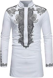 Realdo Mens Long Dashiki, Men's West African Traditional National Hot Gold Printed Long-Sleeved T-Shirt