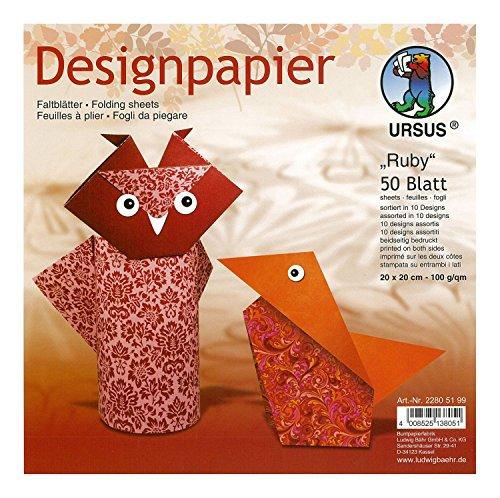 Ursus 22805199 - Designpapier, beidseitig bedruckt, 50 Blatt, 20 x 20 cm, ruby