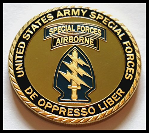 US Army Special Forces Airborne De Oppresso Liber Colorized Challenge Art Coin