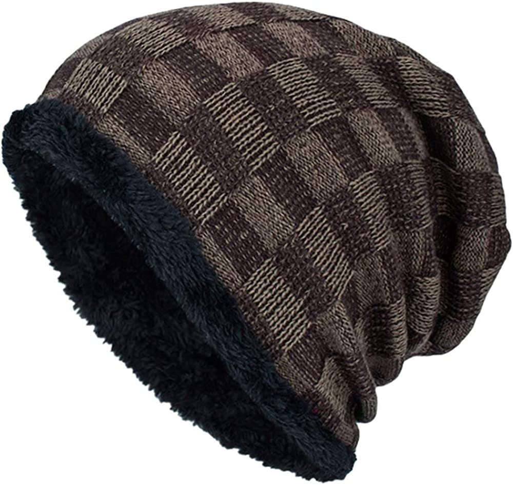 XRDSS Mens Slouchy Long Oversized Plaid Beanie Knit Cap Fleece Lined Warm Skully Caps