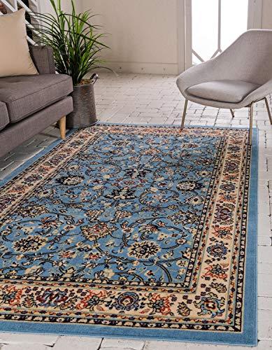 Unique Loom Kashan Teppich mit traditionellem Blumenmuster, 1,8 x 2,7 m, Hellblau / elfenbeinfarben