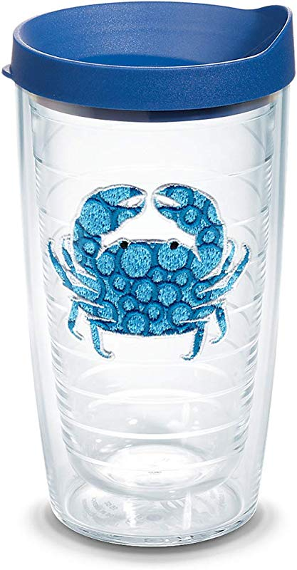 Tervis 1124749 Blue Crab Tumbler With Emblem And Blue Lid 16oz Clear