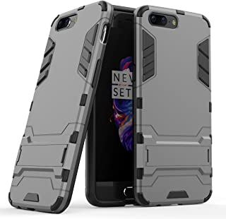 OnePlus 5 Case, Hybrid Armor Case [2 in 1] Lightweight Hard PC Cover + Flexible TPU Shock Absorption & Scratch Resistant with Kickstand for OnePlus 5 (5.5 inches) - Gray