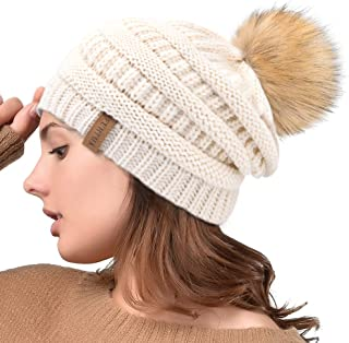 82e381c03c001 Winter Real Fur Pom Beanie Hat Warm Oversized Chunky Cable Knit Slouch Beanie  Hats for Women