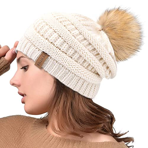 d73485d3812 Winter Real Fur Pom Beanie Hat Warm Oversized Chunky Cable Knit Slouch Beanie  Hats for Women