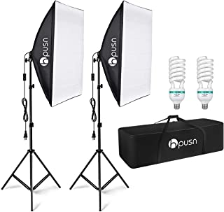 HPUSN Softbox Lighting Kit Professional Studio Photography Equipment Continuous Lighting with 85W 5500K E27 Socket and 2 Reflectors 50 x 70 cm and 2 Bulbs for Portrait Product Fashion Photography