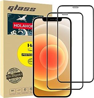 واقي الشاشة من هولاهوني لايفون 12 برو ماكس (6.7 انش) [تغطية من الحافة الى الحافة] حماية كاملة ومتين، اتش دي، زجاج قوي، عبوتين