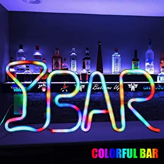 Color Changing Neon BAR Marquee Letter Light,Light Up Colorful Alphabet BAR Sign– USB Powered LED Light– Home Bar Decor