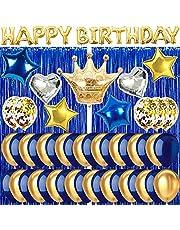 NavyBlueGoldBirthdayDecorations,BirthdayPartySuppliesforMenWomenBoysGirlswithHAPPYBIRTHDAYBanner,FoilCurtains,FoilCrownBalloonsandLatexConfettiBalloons
