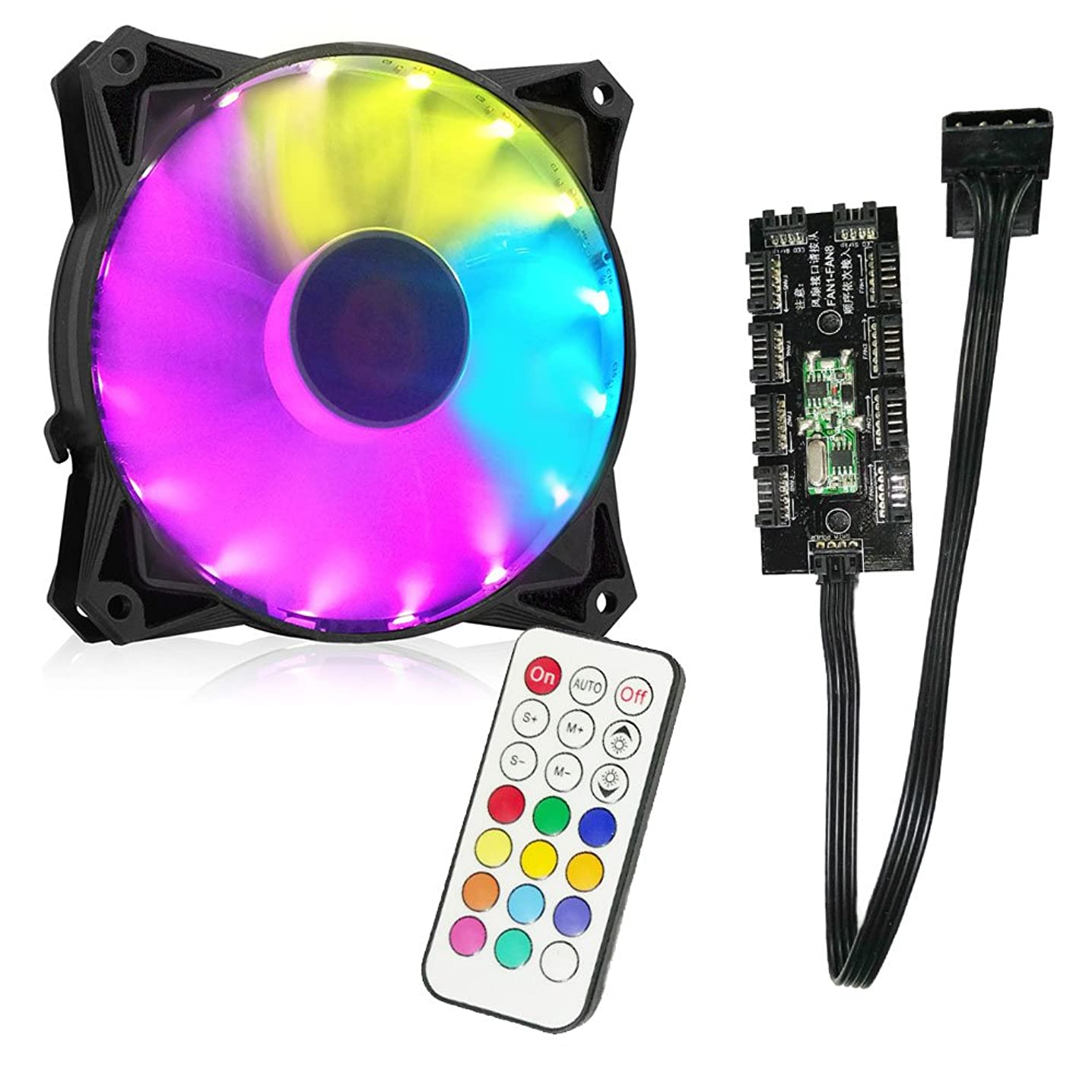 OYJJ RGB Fan Chassis Fan 120mm with Remote Control for Desktop Computer Creative Led Light Cooling Fan RGB Cooling Fan Desktop Computer Lighting
