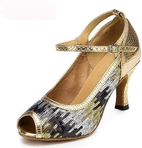Chaussures de Danse Latine pour Femmes dans la Salle de Bal Latine à Talons Hauts 7.5cm Chaussures de soirée Sociale Salsa pour Femmes Chaussures à Semelle Souple 1857