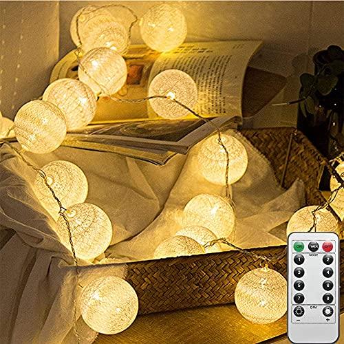 LED Cotton Ball Lichterkette 4M 20 LED Baumwollkugeln Lichterkette USB und Fernbedienung-8 Modi Lichterkette Ball Baby-Kugel Lichterketten Innen Wandleuchte Weihnachtsbeleuchtung Deko (Weiß-B)