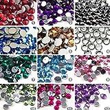 Sungpunet 3000Pcs 12 colori Chiodi gemme di arte del chiodo di scintillio del Rhinestone Strass gel UV acrilico Strumenti di make-up di punte di arte fette e spazzole di arte del chiodo