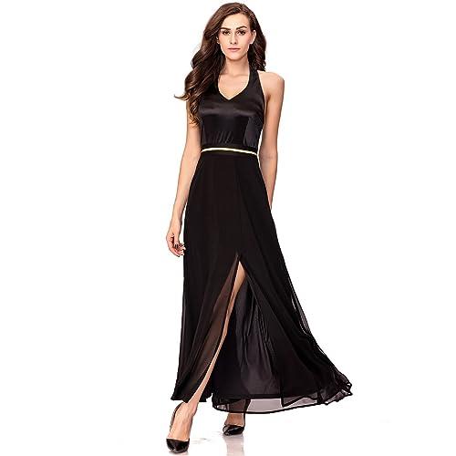 Black Halter Top Evening Dress Amazon