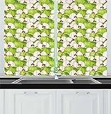 Cortinas De Cocina De Manzana Manzanas Verdes Frescas Y Rodajas con Semillas Gotas De Agua Ilustración Vívida Cortinas De Ventana para Cocina Café 140X99Cm 2 Panels Set