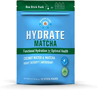 Rapid Fire Hydrate Powder, Drink Mix, Stick Packs, Coconut Water, Electrolytes, Equals 3 Bottles of Water, Matcha Green Te...