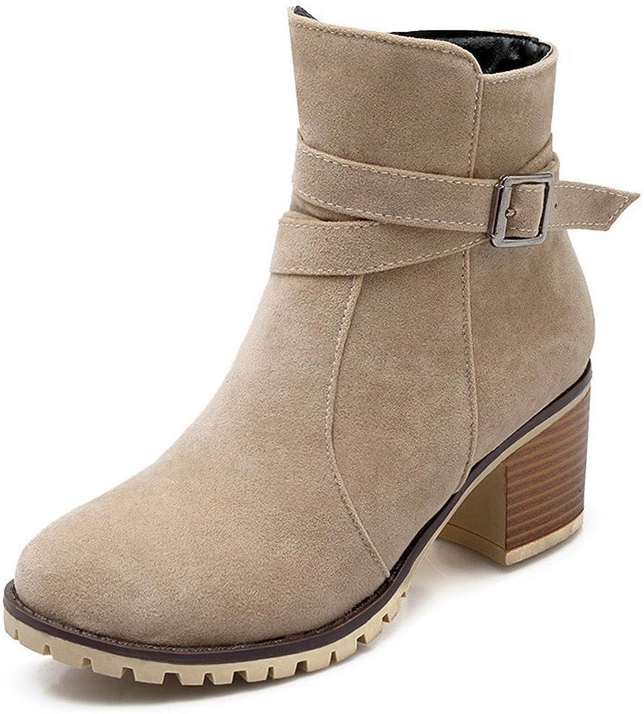 WeiPoot Women's Zipper Kitten-Heels Flock Solid Low-top Boots