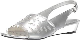 Easy Street Women's Celebrate Slingback Sandal Wedge, Silver Patent 6 W US