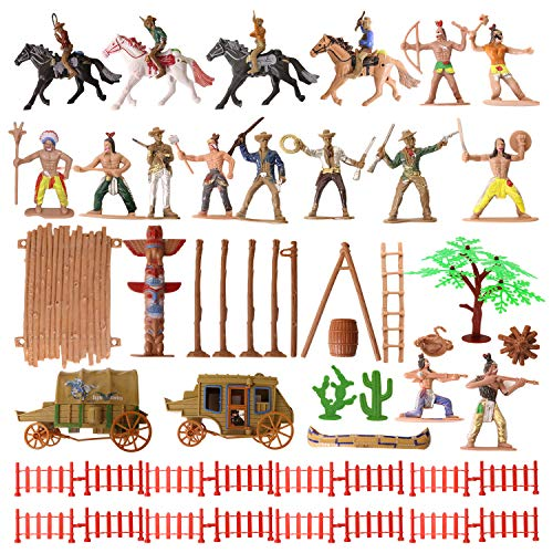 56 Pcs Cowboys and Indians Plastic Figures Playset, Native American Figures with Life Scene Accessories, Miniature Sandbox Decoration Educational Toys for Children, Boys, Kids