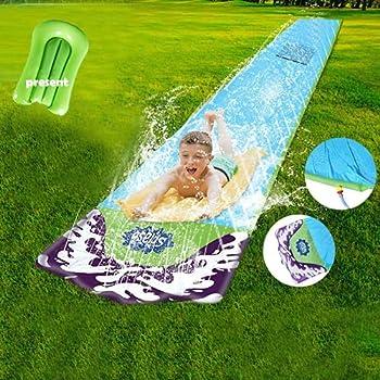 Water Slip and Slide for Kids w/ Bodyboard Inflatable Crash Pad and Splash Sprinkler for Kids Children Water Slides Outdoor Lawn Garden Backyard Summer Swimming Kiddie Pool Water Toys