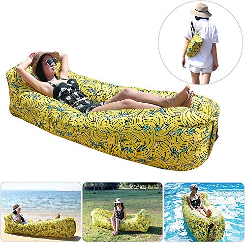 Ydq Inflatable Lounger - Mattress Portable Air Couch Banana Chair - Sofa Hammock with Storage Waterproof for Beach Pool Travelling Camping Hiking Party Park Picnic Backyard Parties,Yellow