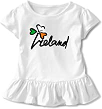 ZHIYANG Ireland Irish Shamrock Little Girls Short Sleeve Dress 100% Cotton Ruffled Hem Dress Dress Flounce