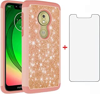 Phone Case for Moto G7 Play/MotoG7 Optimo XT1952DL/Tmobile Revvlry with Tempered Glass Screen Protector Cover Bling Glitter Cell Accessories Motorola MotoG7Play Moto7 G 7 7G G7Play Cases Women Girls