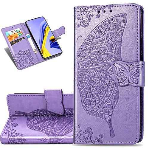 COTDINFORCA Etui für Huawei P40 Lite 5G Hülle PU Leder Schutzhülle Magnet Tasche Flip Handytasche im Bookstyle Kartenfächer Lederhülle für Huawei Nova 7 SE Flower Butterfly Lavender SD