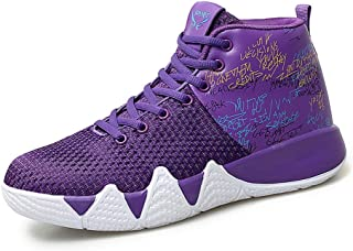 Man's Basketball Shoes, Breathable Flying Weaving Basketball Boots Trainer Non-Slip Wear Outdoor Running Competitive Walk Sneakers,Purple,43
