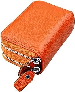 (Orange) - RFID Blocking Wallet Fmeida Leather Credit Card Holder Purse for Women