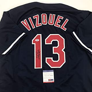 Autographed/Signed Omar Vizquel Cleveland Blue Baseball Jersey PSA/DNA COA