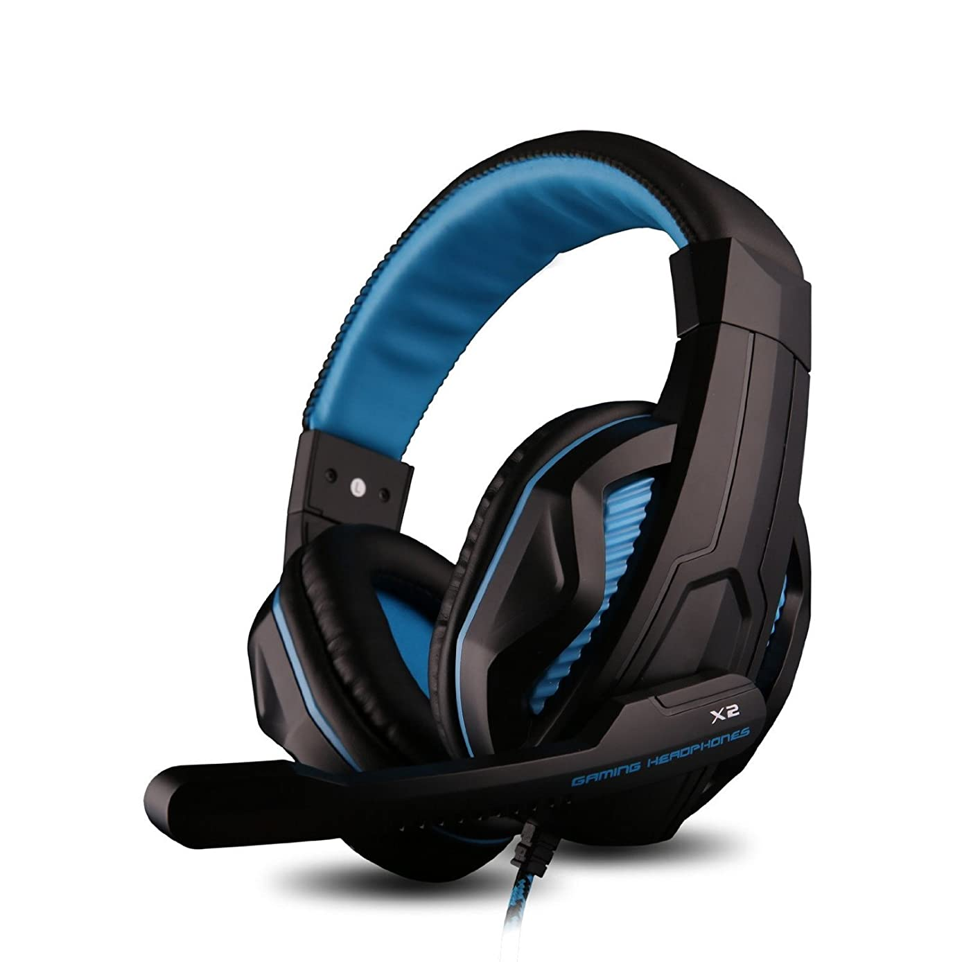 Gaming Headset, Bengoo Comfortable Wired PC Stereo Gaming Headset Headband Gaming On-Ear Headphones with Microphone Control Remote-Blue