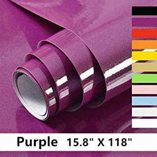 """Home Dr Purple Self Adhesive Wllpaper for Furniture Cabinet Countertop 15.8"""" X 118"""""""