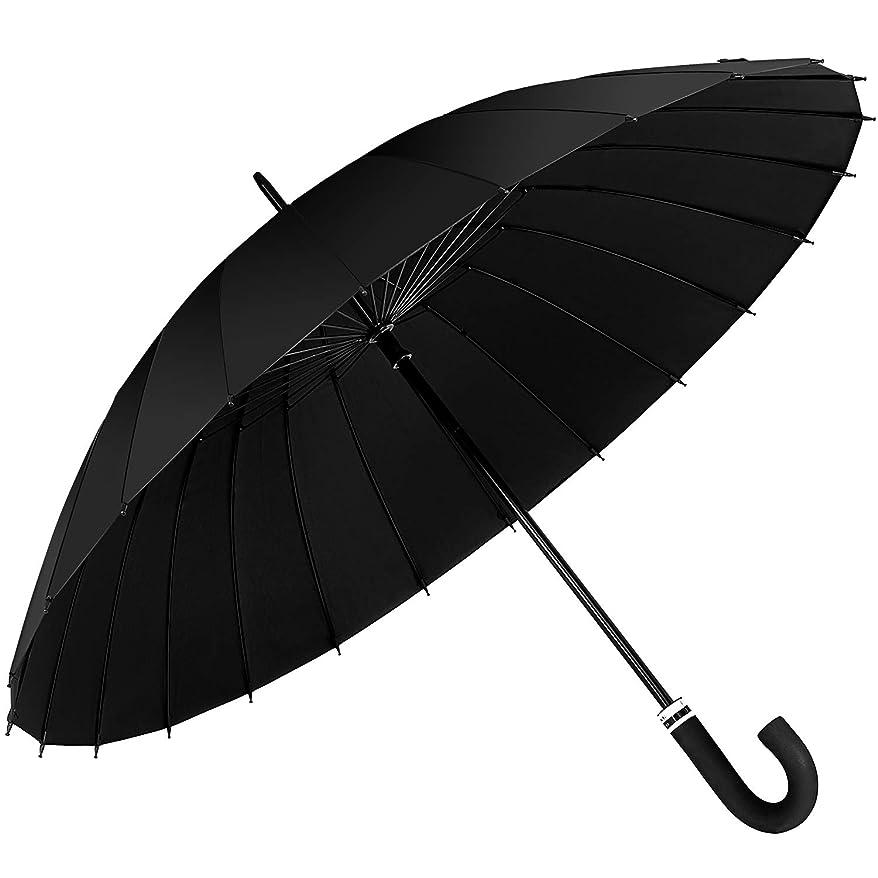 受けるピークイブニングFJMOD 長傘 メンズ 24本骨 大きい ステッキ傘 紳士傘 強風·豪雨対抗構造 梅雨対抗 水に当たって花が咲く独特の傘布 頑丈な傘骨 耐久 軽量 晴雨兼用 通勤用 通学用
