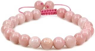 "Natural AAA Peruvian Pink Opal Tassels Macrame Adjustable Bracelet | 7.5"" Length Chakra Reiki Corded Gemstone Bracelet| Braided Unisex Bracelet | 1omm Round Beads| Yoga Beaded Bracelet"