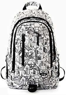 PANFU-AU Business College Stylish Big Daypack for Men/Women Student Bag Fashion Trend Backpack Computer Backpack Water Resistant Laptop Laptops/Anti-Theft Travel Laptop Rucksack (Color : White)