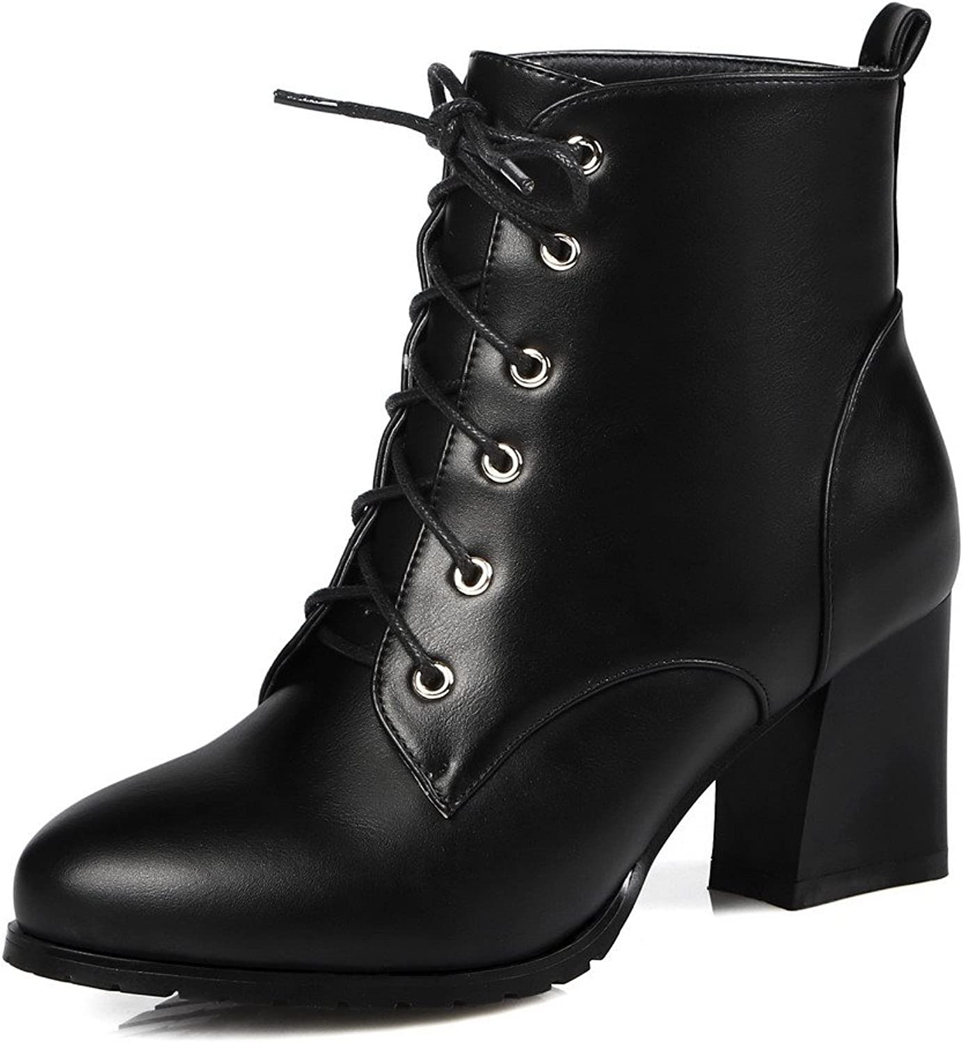 AllhqFashion Women's Soft Material Lace-up Round Closed Toe Kitten-Heels Low-top Boots