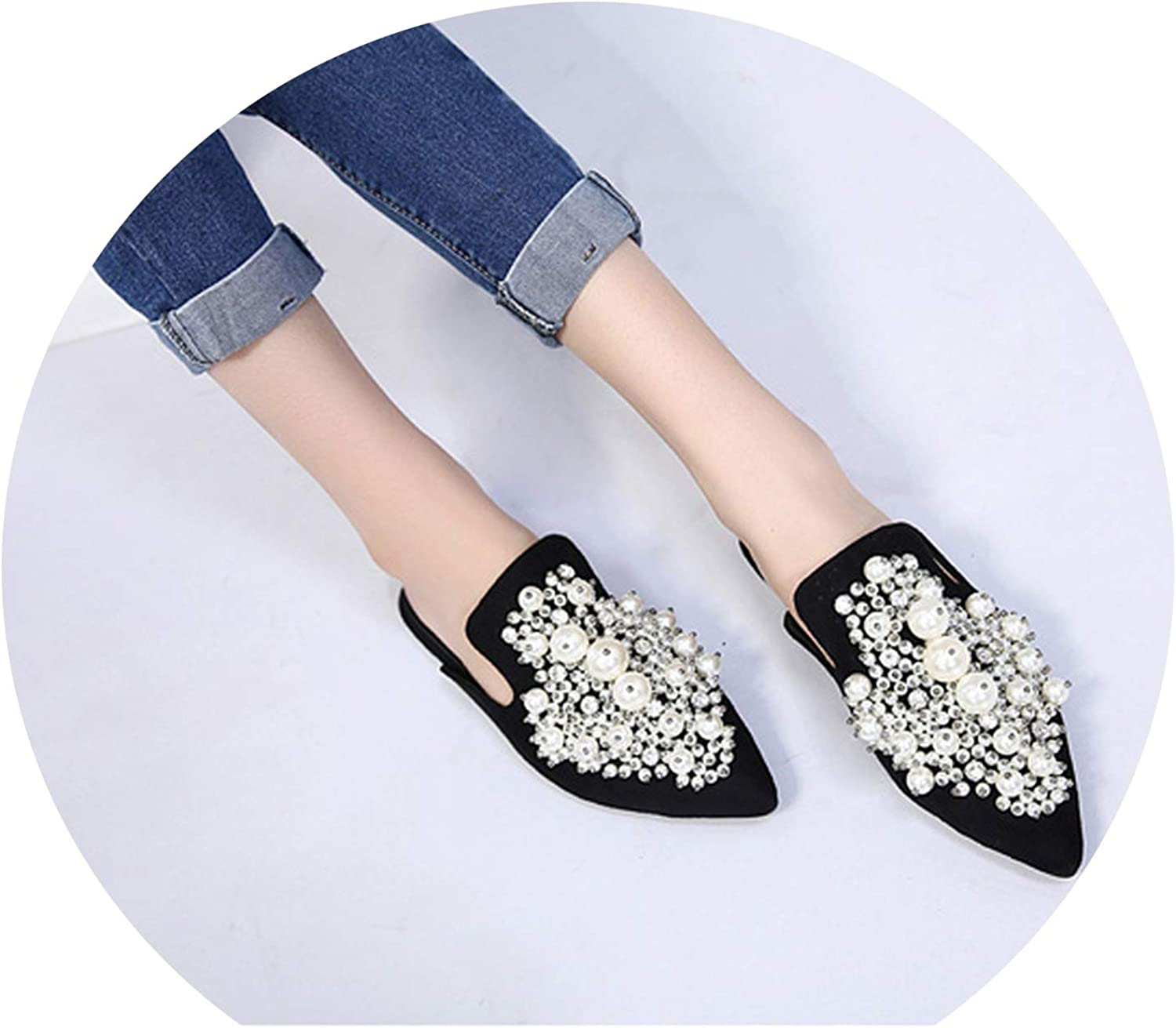 Women Slippers Ladies Pointed Toe shoes Flats shoes Pearls Embroidery Slides