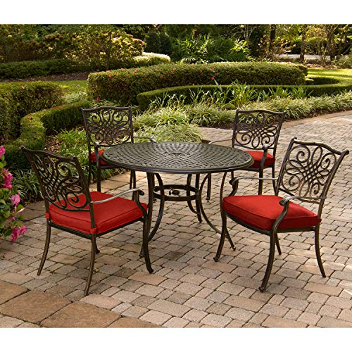 Hanover TRADDN5PC-RED Traditions 5-Piece Set in Red Cast-top Table and Four Dining Chairs Outdoor Furniture, 48'