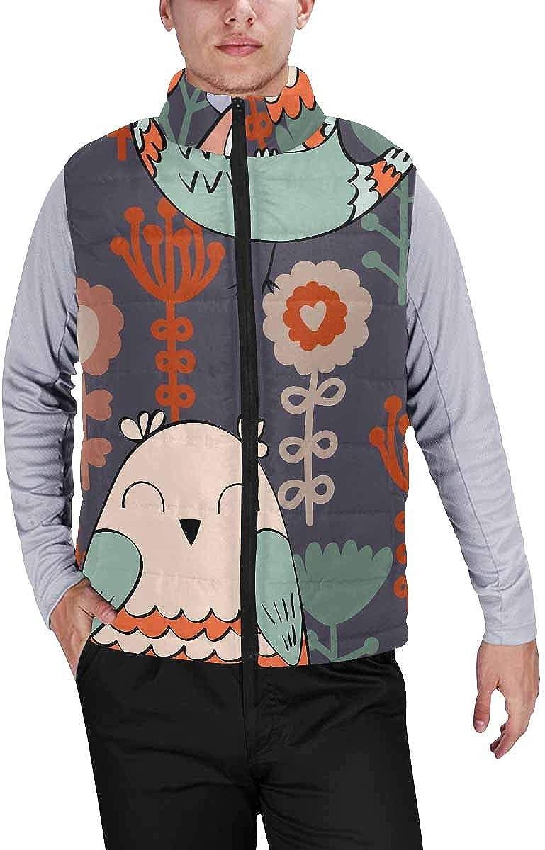 InterestPrint Men's Full-Zip Padded Vest Jacket for Outdoor Activities Cute Little Birds and Flowers Pattern