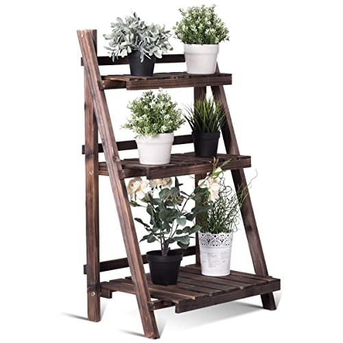 908d5eae6f3c Giantex 3 Tier Folding Wooden Plant Stand with Pot Shelf Stand Display Rack  for Indoor Outdoor