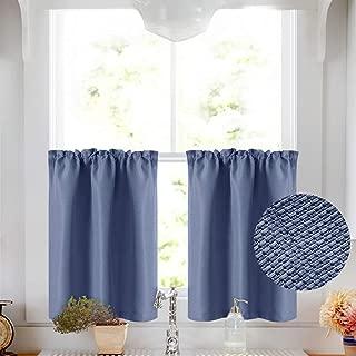 Vangao Tier Curtains 24 inch Basket Weave Textured for Kitchen Rod Pocket Cafe Curtain Room Darkening Short Drape Bathroom, 2 Panels,Blue