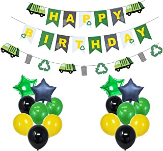 Green Recycling Truck Garbage Truck Themed Party Decorations:1 Happy Birthday Banner, 4 Star Shaped Mylar Balloons, 16 Latex Balloons,Party Supplies and Favors for Kids Boys and Girls
